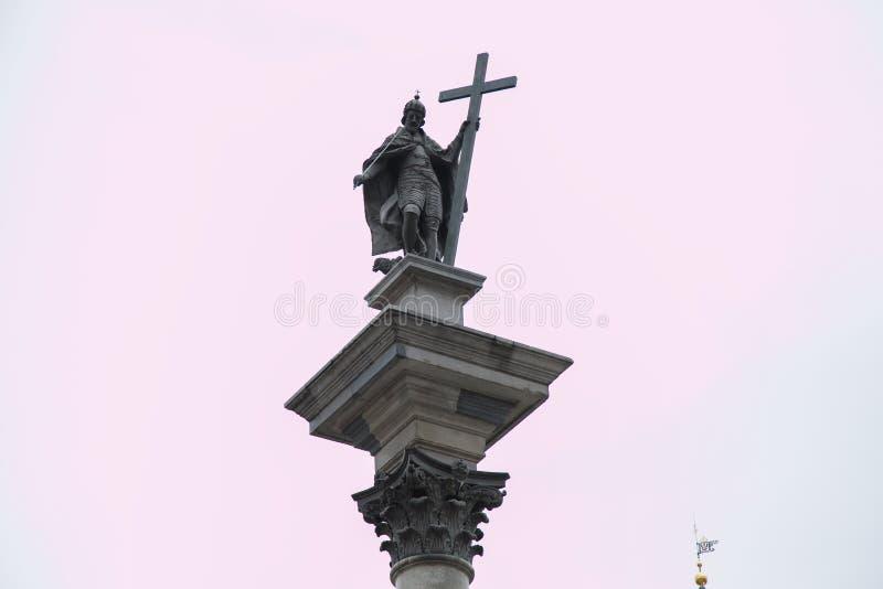 Kolonn för Sigismund ` s i den gamla staden för Warszawa, Polen, Europa royaltyfria bilder