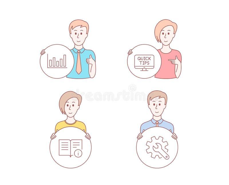 Kolonndiagram, teknisk information och rengöringsduktutorialssymboler Customisationtecken vektor vektor illustrationer