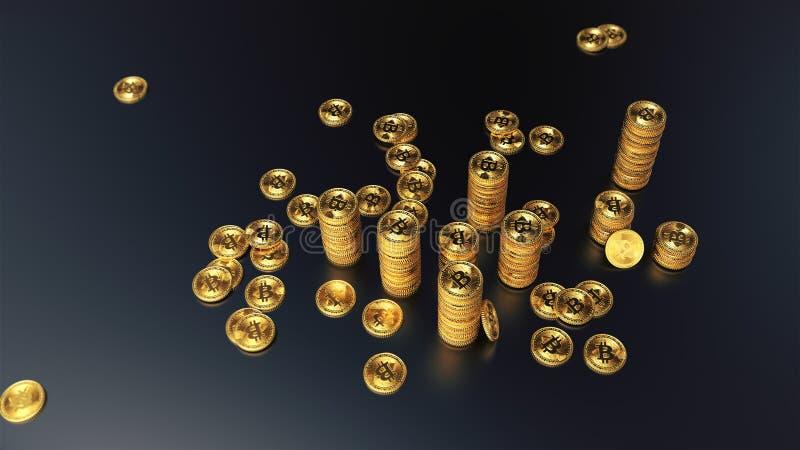 Kolonner av den guld- illustrationen för bitcoins 3d vektor illustrationer