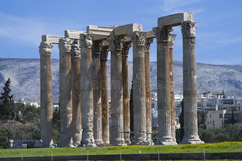 Kolonner av olympiska Zeus Temple, Aten, Grekland royaltyfria foton