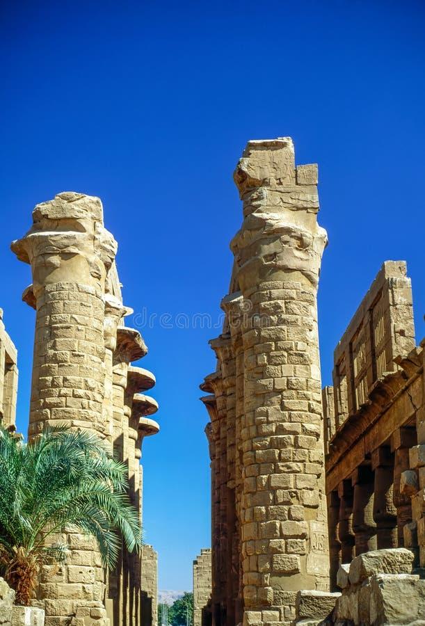 Kolonner av templet i Karnak, Egypten arkivfoton