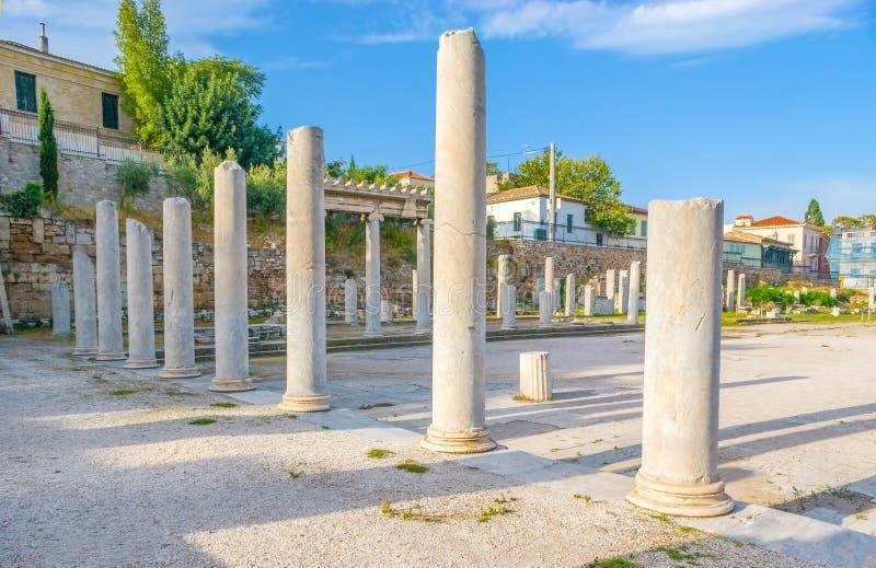 Kolonner i Roman Agora royaltyfria bilder
