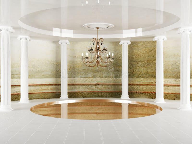 Kolonner och en ljuskrona i tomt rum royaltyfri illustrationer