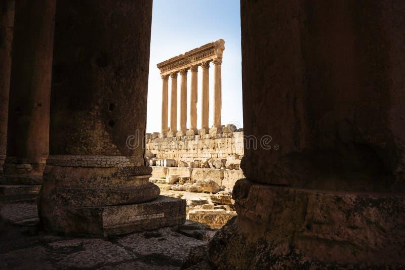Kolonnerna av Jupiter Tempel av Baalbek som ses till och med kolonner, Libanon royaltyfria foton