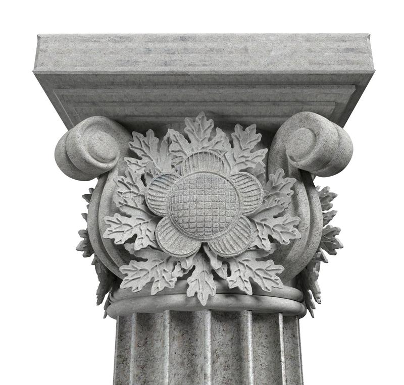 Kolonnhuvudstad med eksidor på vit bakgrund royaltyfri bild