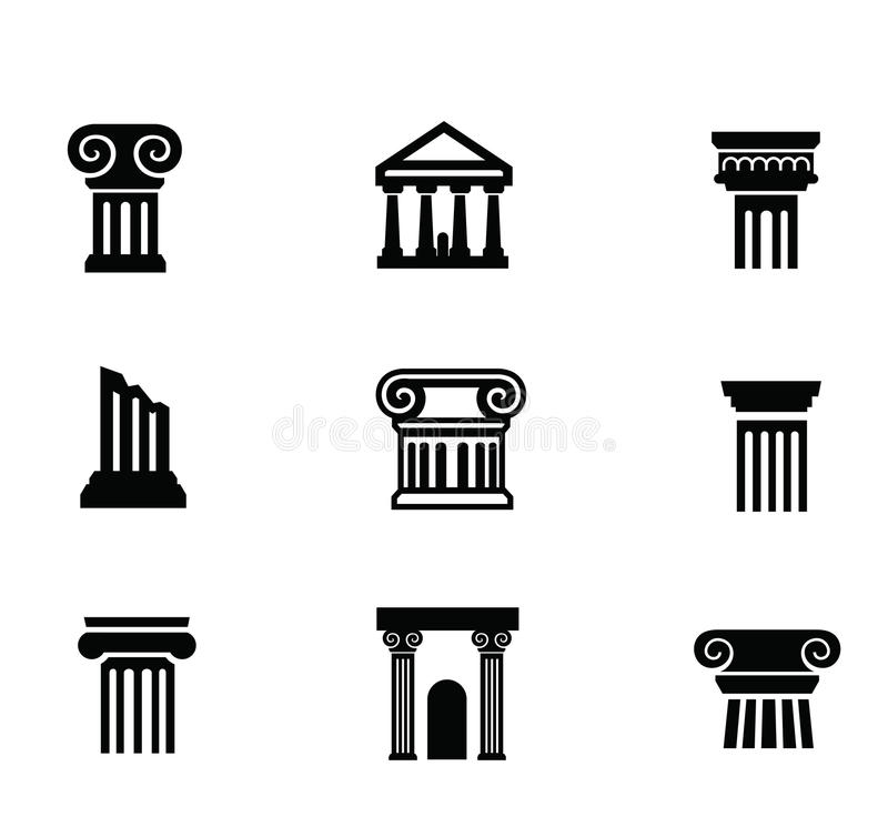 Kolonnsymbol vektor illustrationer