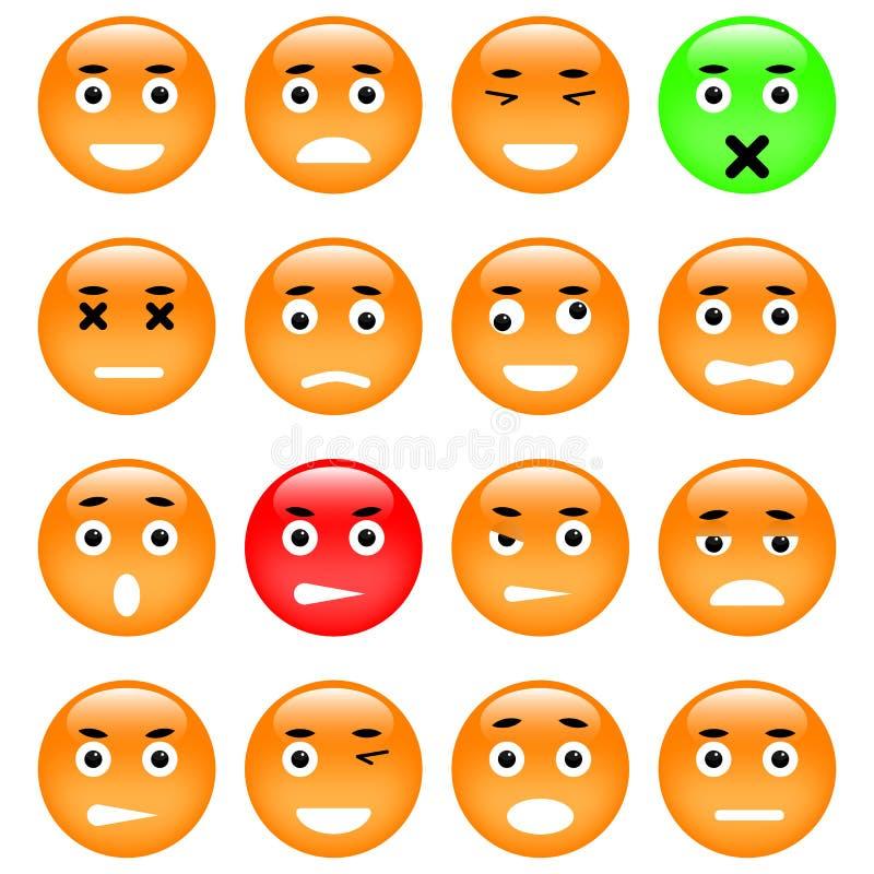kolorów łatwych emoticons ilustracyjny setu wektor ilustracja wektor