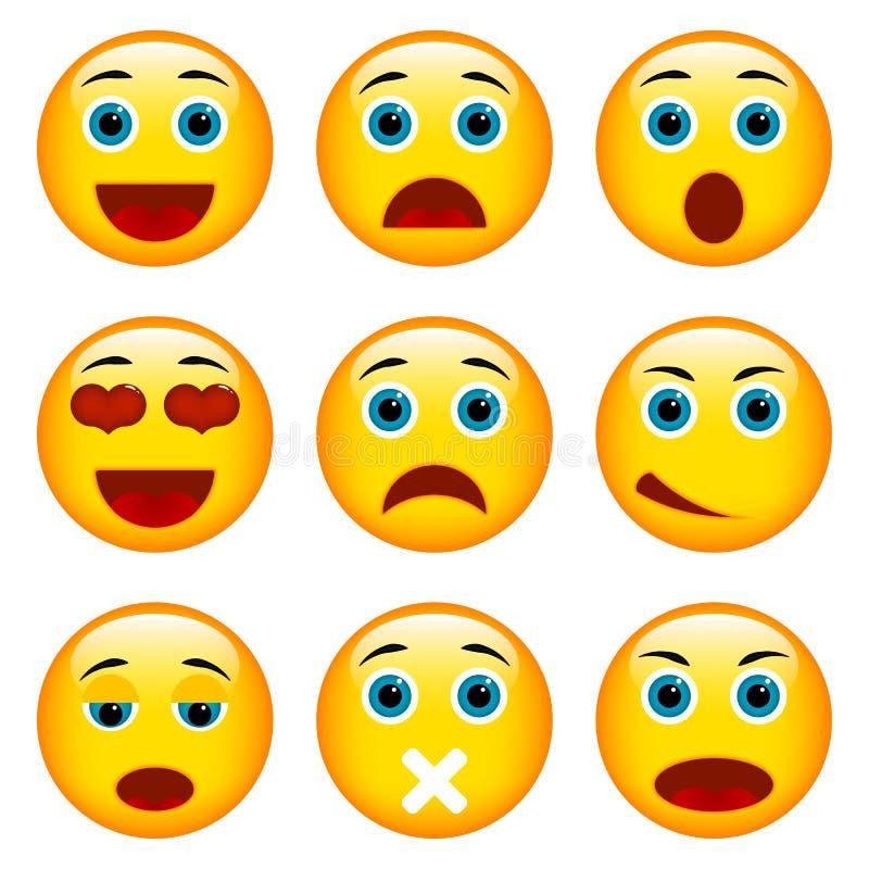 kolorów łatwych emoticons ilustracyjny setu wektor ilustracji