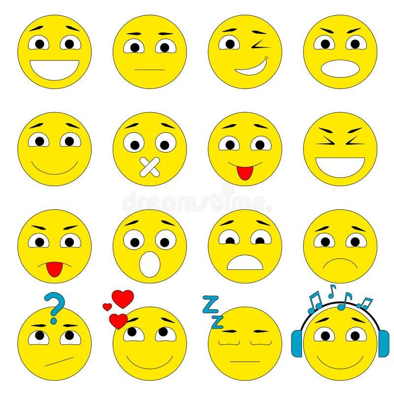 kolorów łatwych emoticons ilustracyjny setu wektor Emoji ikon paczka ilustracji