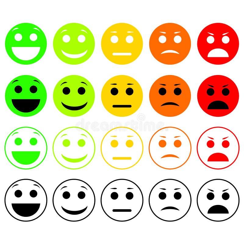 kolorów łatwych emoticons ilustracyjny setu wektor Emoji poziom, kategoria, ładunek royalty ilustracja
