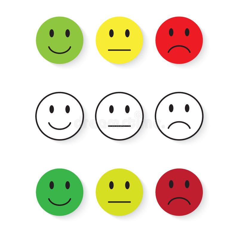 kolorów łatwych emoticons ilustracyjny setu wektor Emoji poziom, kategoria, ładunek Znakomity, dobry, normalny, zły, okropny poje ilustracja wektor