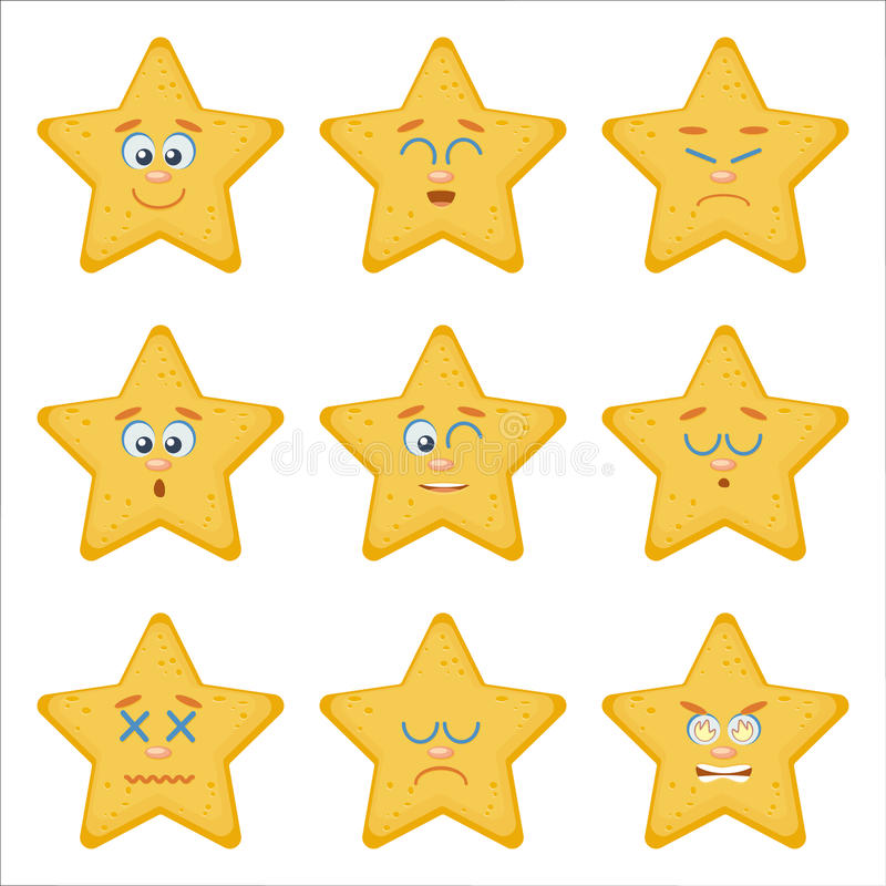 kolorów łatwych emoticons ilustracyjny setu wektor Mieszkanie Stylowe ilustracje royalty ilustracja
