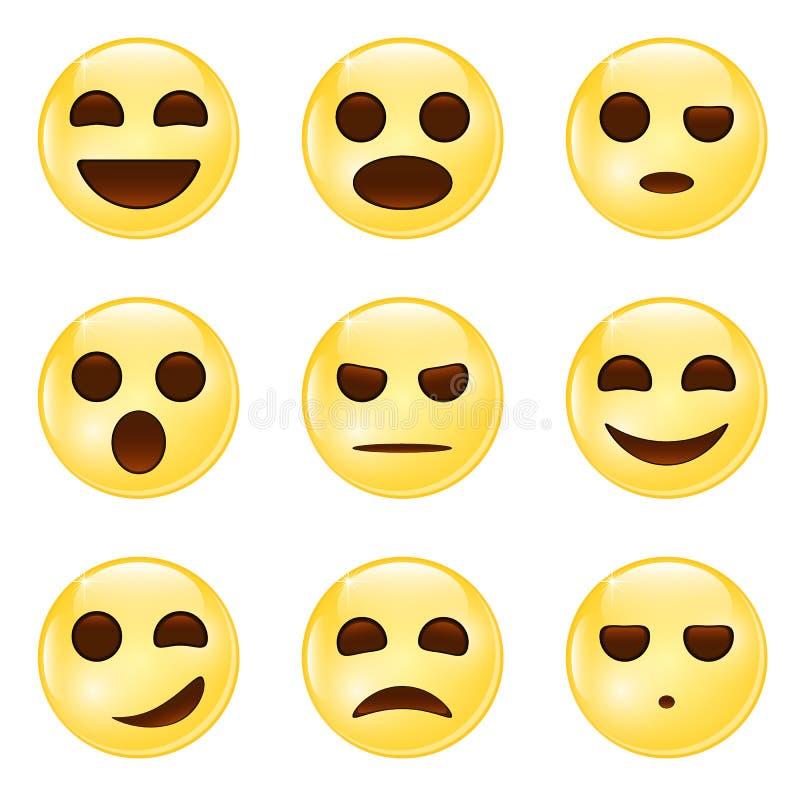 kolorów łatwych emoticons ilustracyjny setu wektor Set Emoji Emoticon ikony royalty ilustracja