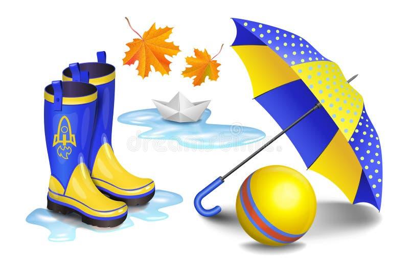 Kolorów żółtych gumboots, children parasol, zabawkarska piłka, spada opuszczają ilustracja wektor