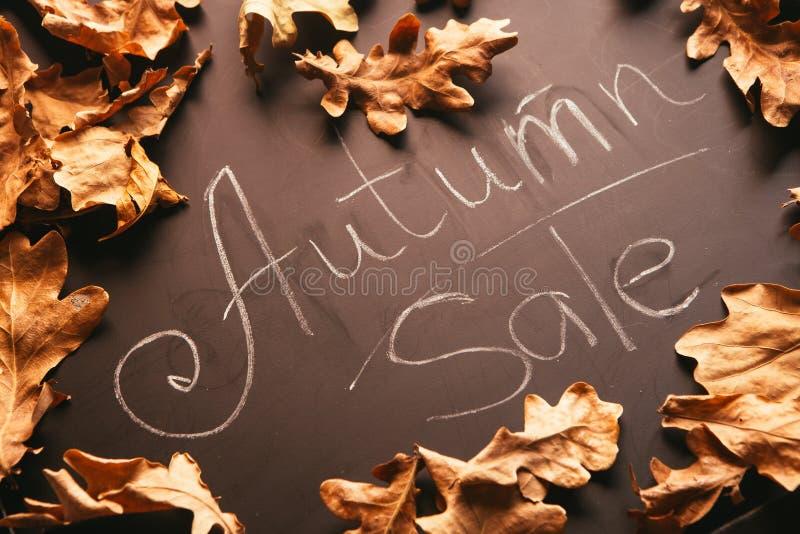 Kolorów żółtych liście i słowo jesieni sprzedaż na blackboard roczniku projektują obraz royalty free