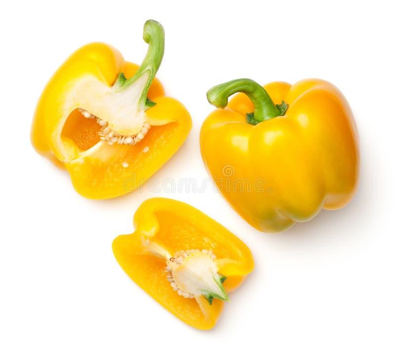 Kolorów żółtych pieprze odizolowywający na białym tle zdjęcia stock