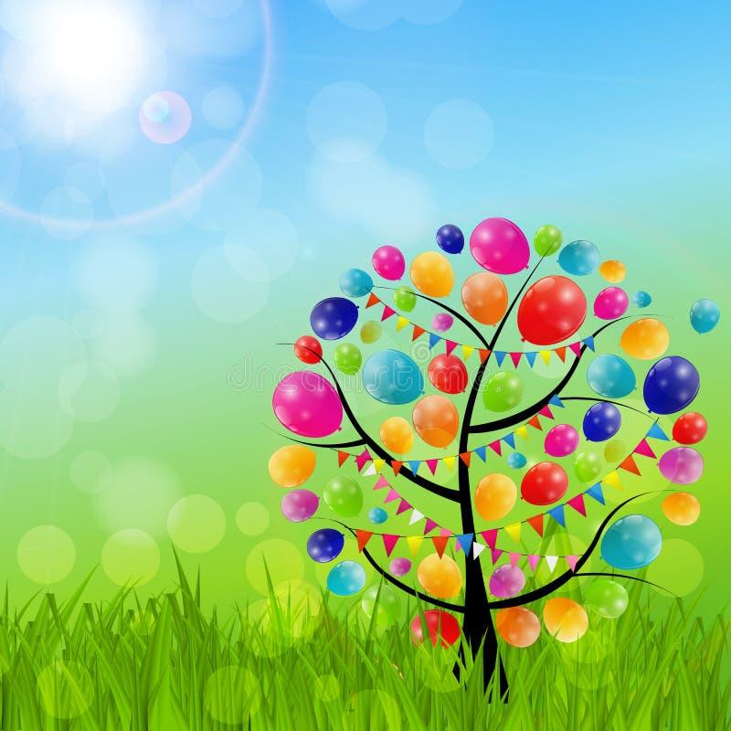 Kolorów balonów Urodzinowej karty tła Glansowany wektor Illustrat ilustracja wektor