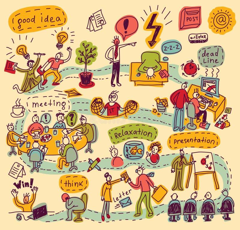 Kolorów doodles ludzie w biurze ilustracja wektor