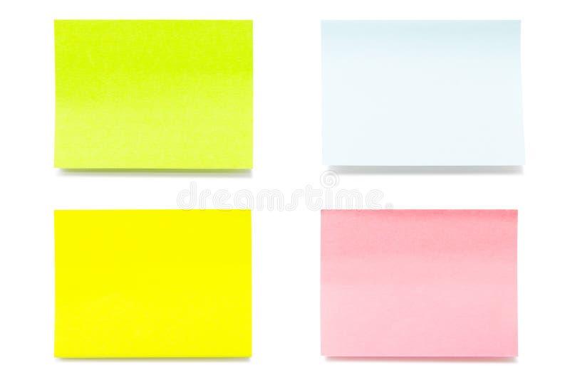 Kolorów kleiści prześcieradła papier zdjęcia stock