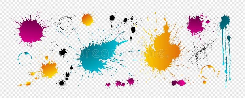 Kolorów kleksy z kroplami ilustracji