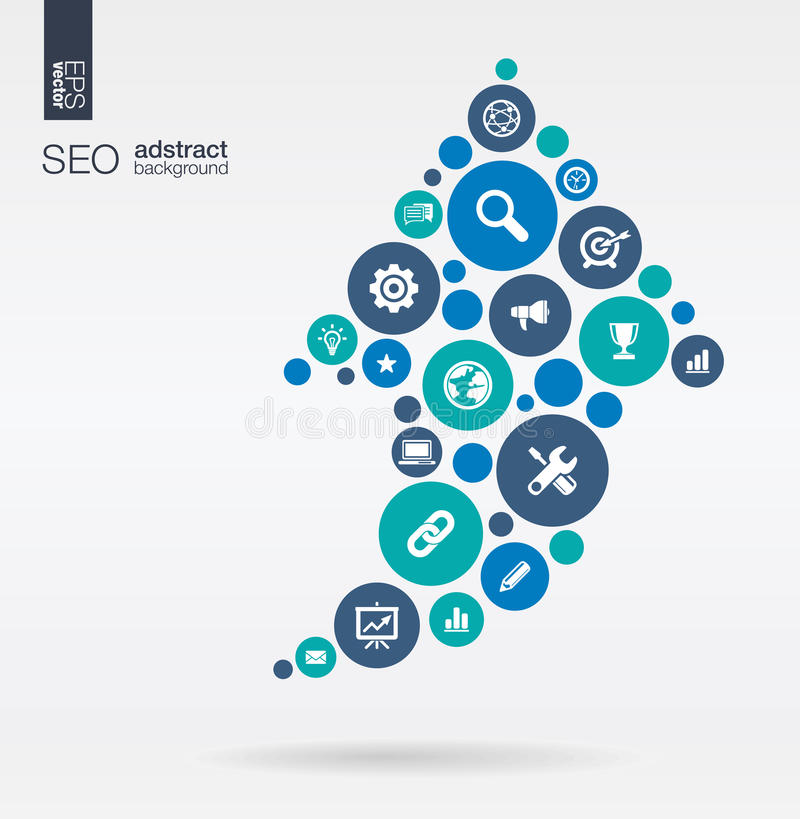 Kolorów okręgi, płaskie ikony w strzała up kształcie: technologia, SEO, sieć, cyfrowy, analityka, dane i rynków pojęcia, royalty ilustracja