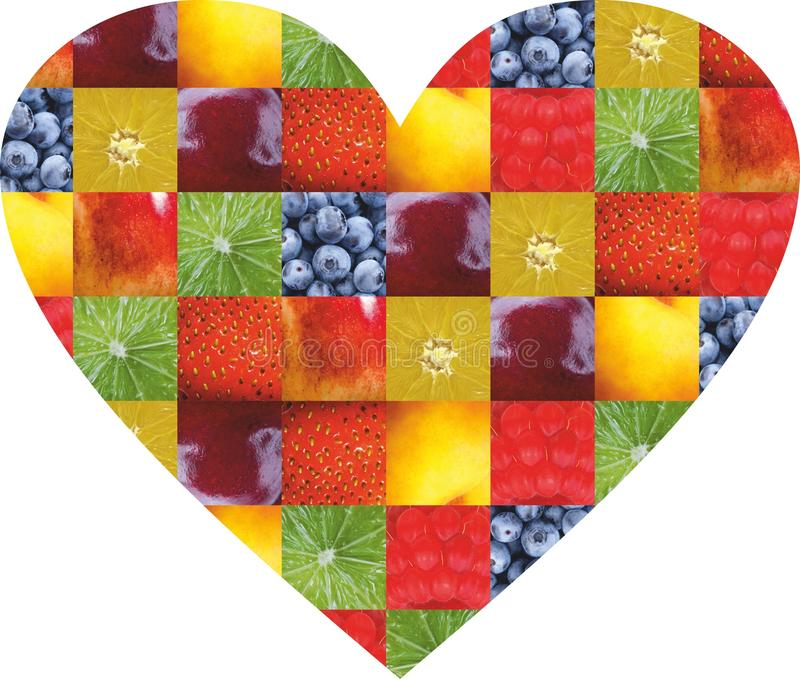 Kolorów owoc i warzywo świeże jedzenie Pojęcie kolaż obraz royalty free
