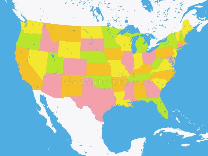 Kolorów państw federalnych mapa Stany Zjednoczone Ameryka royalty ilustracja