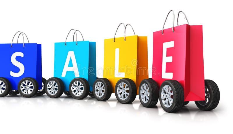 Kolorów papierowi torba na zakupy z sprzedaży słowem i samochodowymi kołami royalty ilustracja
