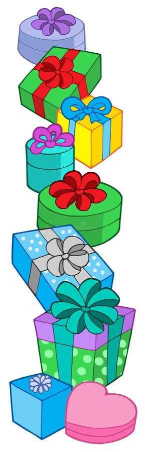 kolorów prezenty wypiętrzają różnorodnego ilustracja wektor