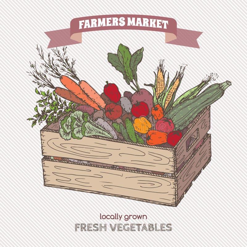 Kolorów rolników rynku etykietka z warzywami w drewnianej skrzynce royalty ilustracja