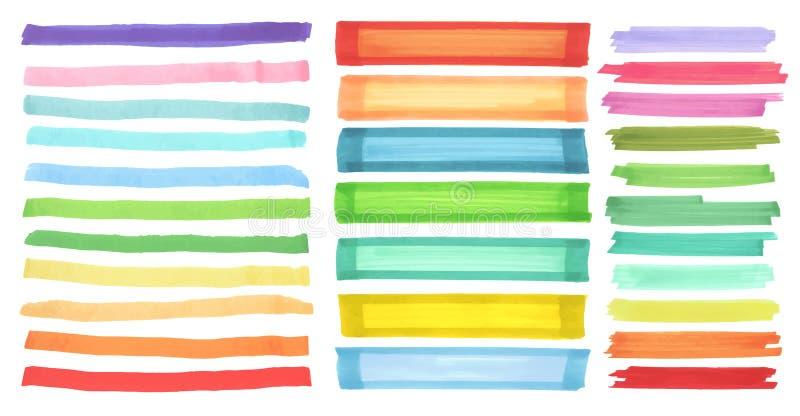 Kolorów sztandary rysujący z Japan markierami Eleganccy elementy dla projekta Wektorowy markiera uderzenie ilustracji