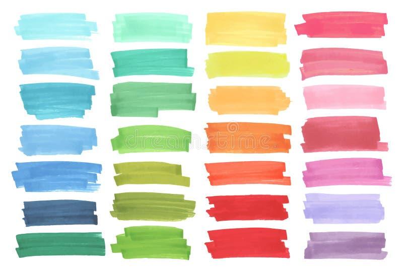 Kolorów sztandary rysujący z Japan markierami Eleganccy elementy dla projekta Wektorowy markiera uderzenie royalty ilustracja