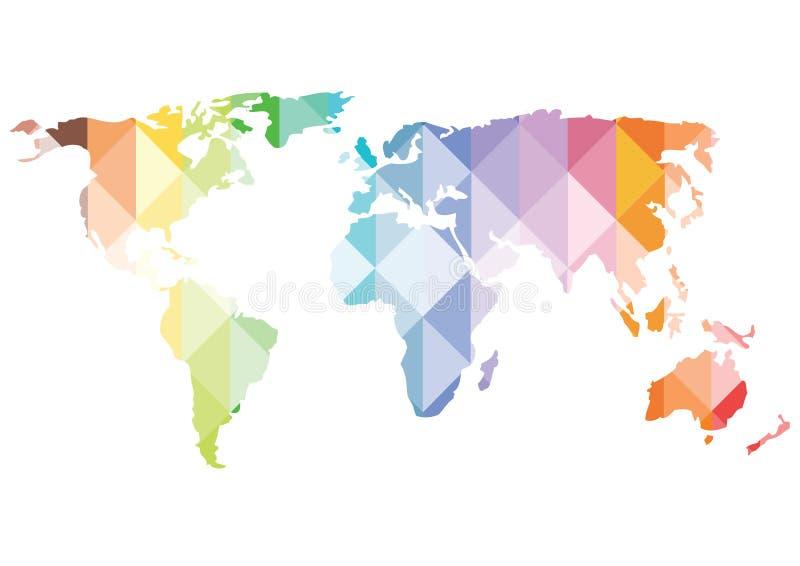 Kolorów wieloboków światowej mapy wektorowa niska sylwetka ilustracji