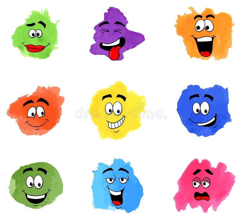 Kolor łaty z emocjonalnymi twarzami ilustracji