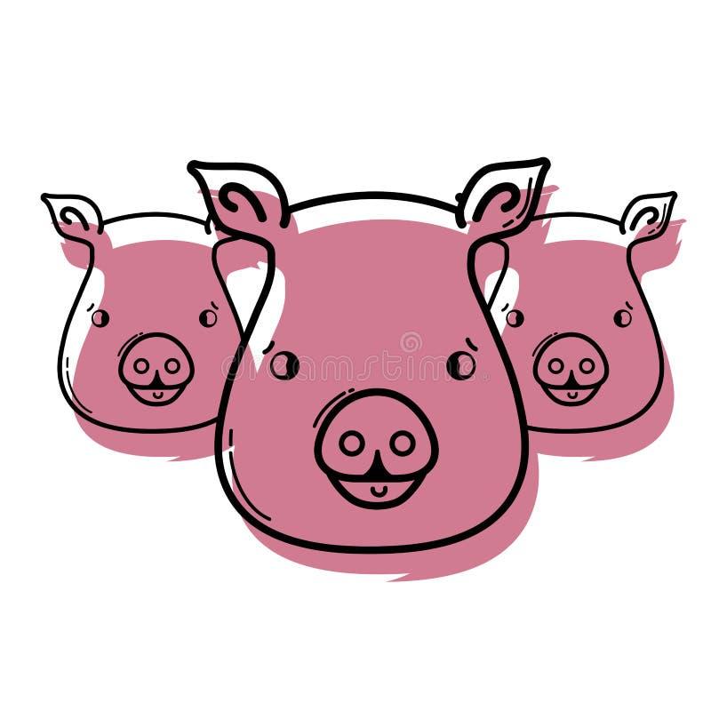 Kolor świni głów wilds śliczni zwierzęta ilustracji