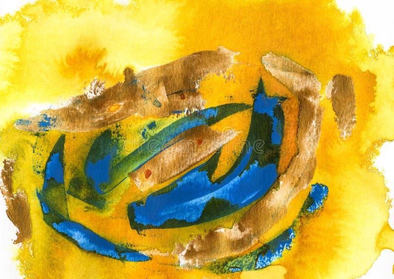 kolor żółty, akrylowy i akwarela, błękitny i zielony royalty ilustracja