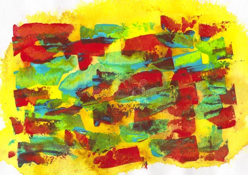 kolor żółty, błękit, zieleń, czerwony akrylowy i akwarela, royalty ilustracja