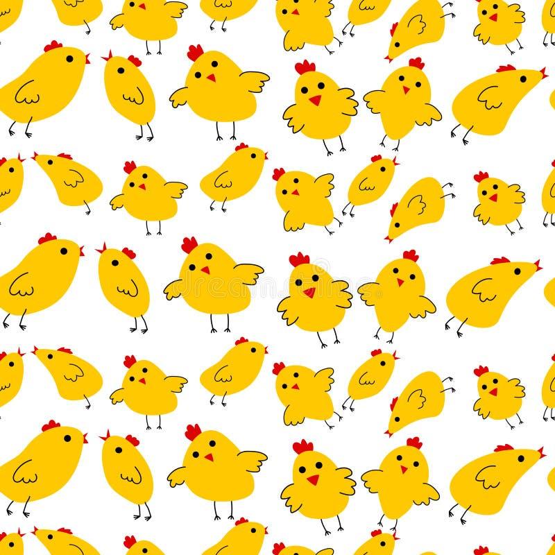 Kolor żółty chinken wzór royalty ilustracja