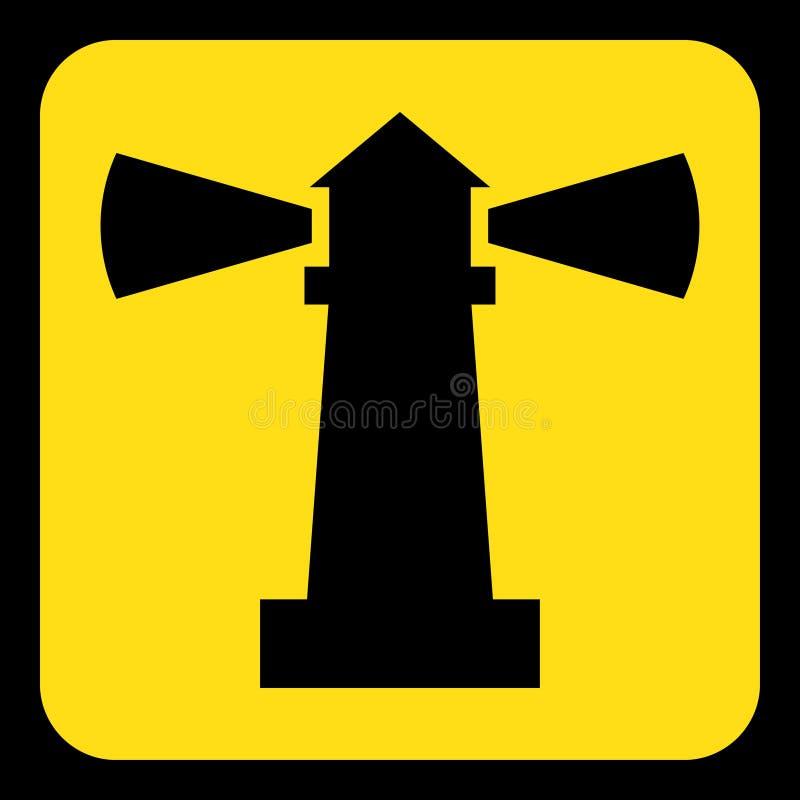 Kolor żółty, czarny informacja znak - latarni morskiej ikona ilustracji
