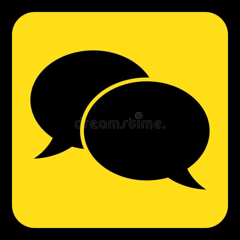 Kolor żółty, czerń znak - dwa mowa bąbli ikona ilustracja wektor