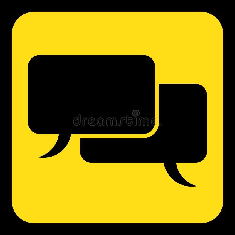 Kolor żółty, czerń znak, dwa mowa bąbli ikona ilustracja wektor