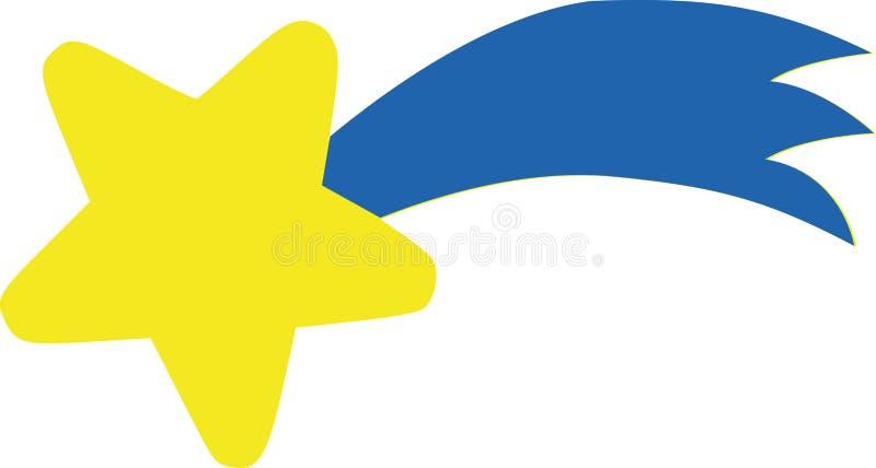 Kolor żółty gwiazda z błękitnym ogonem - spada gwiazda ilustracja wektor