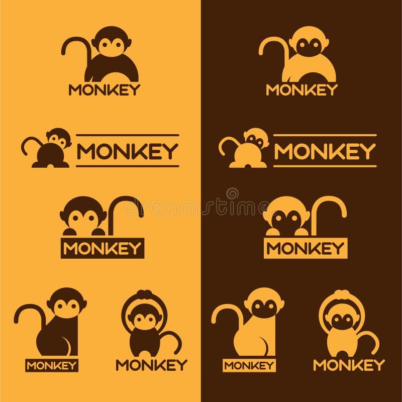 Kolor żółty i Brown loga Małpiego wektoru ustalony projekt ilustracja wektor