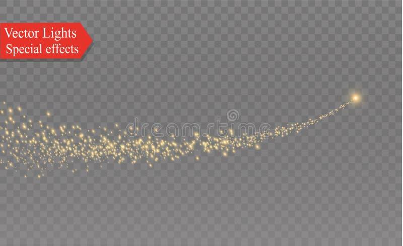 Kolor żółty iskrzy i gwiazdy błyszczą z dodatku specjalnego światłem Iskrzaste magiczne pył cząsteczki Skutek racy raca z a ilustracja wektor
