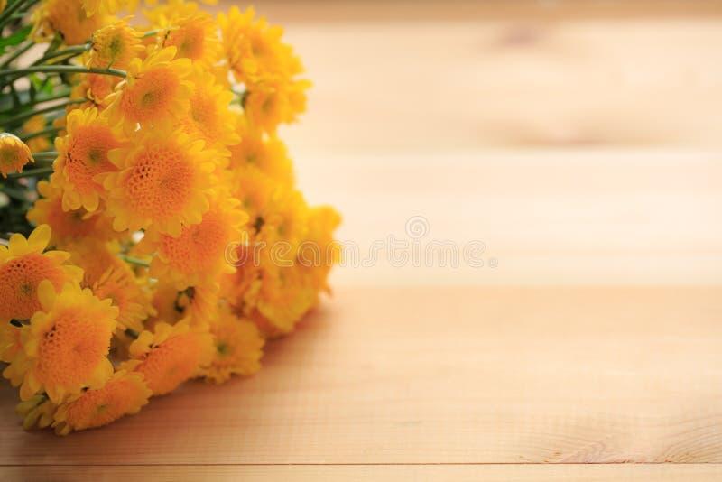 Kolor żółty kwitnie z drewnianą i odbitkową przestrzenią fotografia royalty free