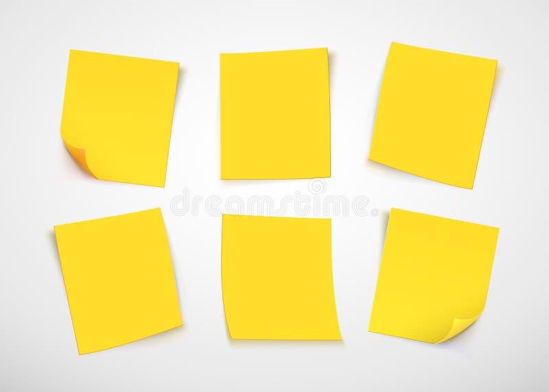Kolor żółty papieru notatki tła błękitny rysunkowa odosobniona nutowa pomarańcze szpilki poczta czerwień ilustracja wektor