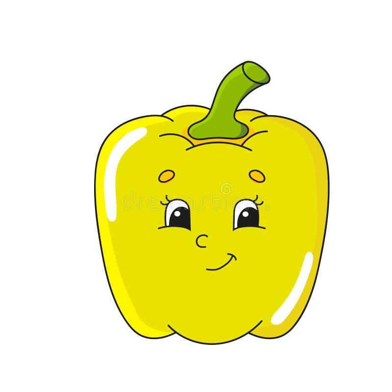 Kolor żółty pieprz Śliczna płaska wektorowa ilustracja w dziecięcym kreskówka stylu Śmieszny charakter pojedynczy białe tło ilustracji