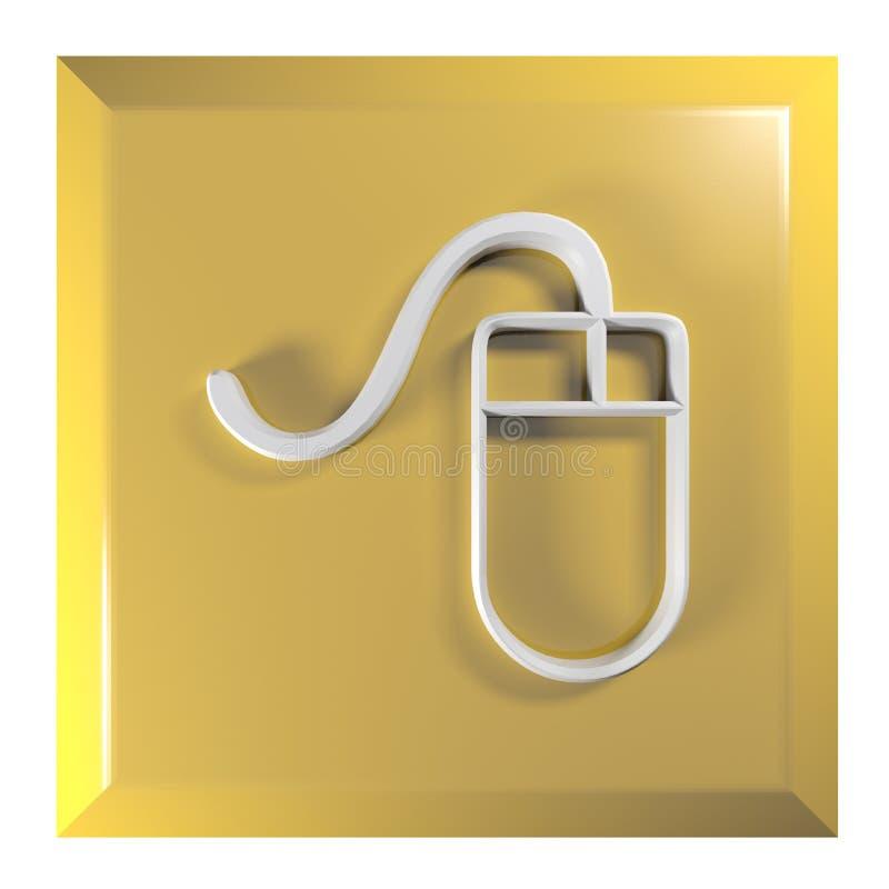 Kolor żółty - Pomarańczowy squarel pchnięcia guzik z myszy ikoną - 3D renderingu ilustracja ilustracji