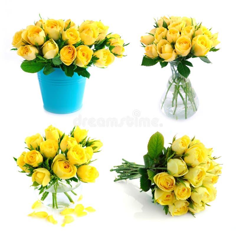Kolor żółty różany bukieta set obrazy stock