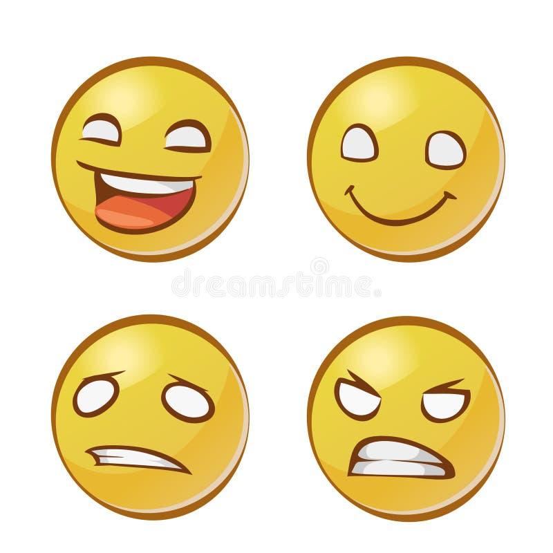 Kolor żółty twarze z emocjami ilustracji